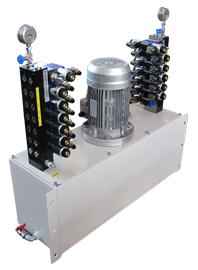 POWERPACK FOR HANDLING HYDRAULIC CYLINDERS FOR DISPLACEMENT, LOAD, STRECHT OF PAPER ROLLS